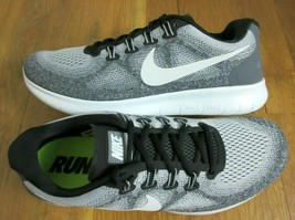 Nike Mens Free RN 2017 Running Training Shoes Wolf Grey Off White Size 1... - $69.29