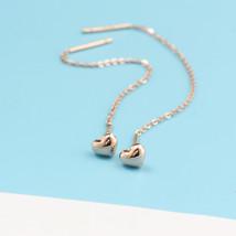 Ear Thread Series 18k Rose Gold Mesh Chain Heart Dangle Earrings image 3