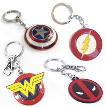 SUPERMAN FLASH WONDER WOMAN CAPTAIN AMERICA DEADPOOL LANTERN Metal Keychain - $2.95