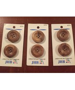 "JHB 1 1/8"" wooden brown four hole buttons #1771 New on card Portugal - $9.89"