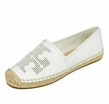 Tory Burch 50966 White Leather Perforated Logo Size 8.5 Women's Espadrille Flats - $227.69
