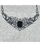 Silver necklace with octagon onyx stone - $35.95