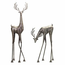 Set of 2 Silver Finish Metal Christmas Reindeer Sculptures Statues Decor... - $157.90