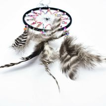 """Handcrafted 11"""" Dreamcatcher Colorful Plastic & Wood Beads w Gray Feathers  image 4"""