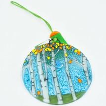Bluebird and Autumn Aspen Fused Art Glass Ornament Sun Catcher Handmade Ecuador