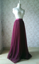 Burgundy Long Tulle Skirt High Waisted Wedding Skirt Burgundy Tulle Maxi Skirt image 3