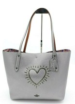 NWT Coach 1941 X Keith Haring Metallic Heart Leather Market Tote Bag 286... - $332.54 CAD