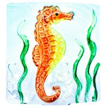 "Jaco Handcrafted Fused Glass Ocean Seahorse 4"" Square Night Light image 3"
