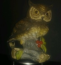 "VTG Hand Painted Ceramic 6 3/4"" Horned Owl On Tree Branch w/Berries VERY... - $6.19"