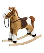 Qaba Kids Plush Toy Rocking Horse Pony with Realistic Sounds - Brown - $66.93