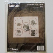 Janlynn 124-02 Cross Stitch Feline Family Portrait Canterbury Designs 1991 - $29.69