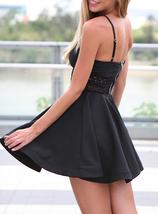Mini Skater Party Dress - Peek-a-Boo Lace Trim / Exposed Silver Zipper image 3