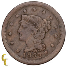 1852 Braided Hair Large Cent 1C Penny (Very Fine, VF Condition) - $35.64