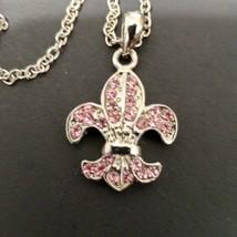 Cookie Lee Pink Genuine Crystal Fleu De Lis Pendant Necklace Silver Tone - $10.89