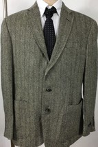 Polo Ralph Lauren Suit Jacket Mens 46L Black Cream Herringbone Yale Overcoat - $196.76
