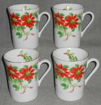Set (4) Otagiri POINSETTIA HOLLY & BERRY PATTERN Handled Mugs JAPAN Chri... - $23.75