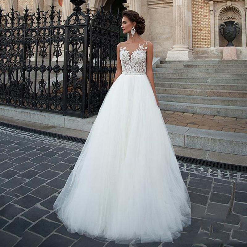 O wedding dress 2020 tulle lace appliques beach bridal gown princess wedding dresses white lvory