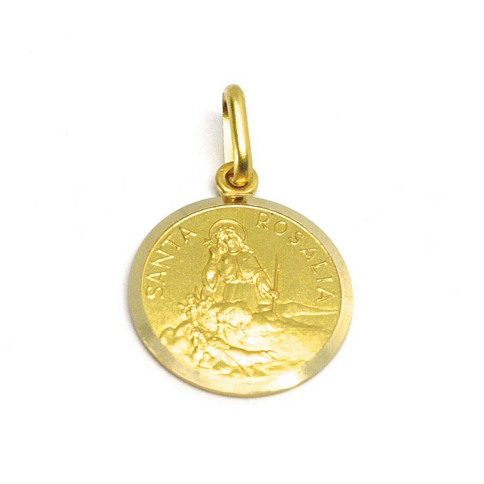 18K YELLOW GOLD MEDAL PENDANT, SAINT SANTA ROSALIA SMALL 14mm VERY DETAILED