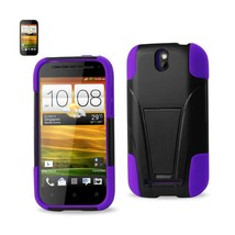 Htc One Sv Hybrid Heavy Duty Case With Kickstand In Black Purple - $18.99