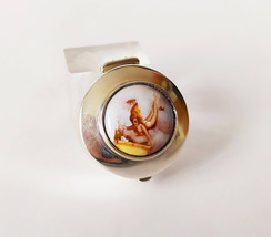 Collectible Sterling Silver and Enamel Pill Box with a Miniature Portrai... - $110.49