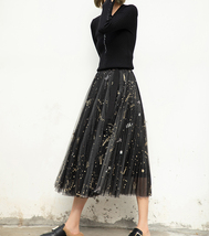 Black Pleated Long Tulle Skirt High Waisted Pleated Tulle Holiday Skirt Outfit image 4