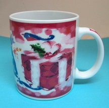 Starbucks Deborah Reinhart Pink Christmas Present Mug Cup 4 In Great Shape - $29.21
