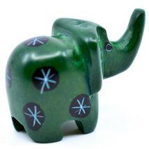 Tabaka Chigware Hand Carved Kisii Soapstone Miniature Green Elephant Figurine image 4