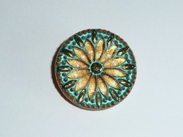 Gorgeous Czech Glass Flower Button - Gold w/ Gold & Turquoise Color Fini... - $8.41