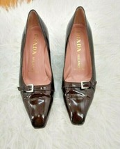 Prada Brown Patent Leather Heels Size 7 Buckle Silver Slip On Designer - $80.75