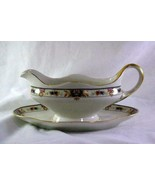 C Tielsch 1920's German Floral Band #2251 Gravy Boat With Attached Under... - $9.44