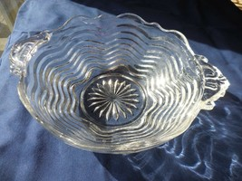 """Anchor Hocking Wavy glass Line #17  Clear Handled Dish  7"""" - $8.99"""