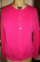 Neiman Marcus Hot Pink 100% cashmere Cardigan Sweater L - $43.55