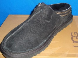UGG Australia NEUMAN Black Suede Sheepskin Slippers Men's Size US 8 NEW #3234 - $62.32