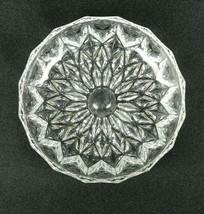 Vintage Pressed Glass Butter Pat Dish Diamond Sunflower Pattern Panel Si... - $13.85