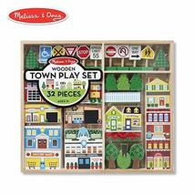 Melissa & Doug Wooden Town Play Set, Vehicles, Wooden Streetscape, Sturd... - $34.00