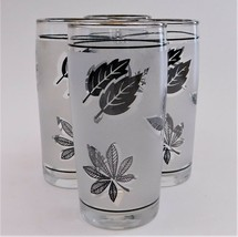 4 Libbey Silver Leaf Frosted Juice Glasses Mid Century Modern 60's Vintage  - $29.70