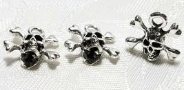 Skull With Cross Bones FINE PEWTER PENDANT CHARM 7x14x16mm image 1