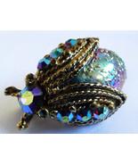 VTG Bug Beetle Iridescent Glass Rhinestones Gold Tone Metal Brooch Pin Clip - $23.76