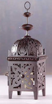 All metal floral cutout brown moroccan patio deck table candle holder la... - $14.00