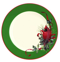 "Lenox Winter Greetings Dessert Salad Plate 8"" Red Cardinal Bird & Green Band New - $21.90"
