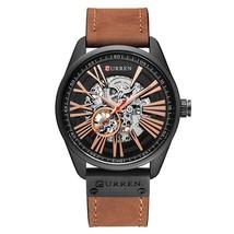 New CURREN Watch Men Skeleton Tourbillon Mechanical Watches Male Leather Automat - $54.33