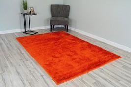 MONACO Polyester Shaggy Modern Contemporary 5x8 5x7 Solid Rug P1577 Orange - $99.00