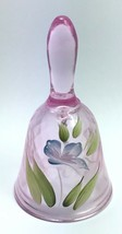Fenton Pink Purple Hand Painted Flowers Bell / 100 Year Label / Signed Thornton - $26.99