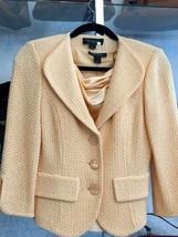ST. JOHN Peach Knit 3/4 Sleeve Jacket & Silk Camisole Set Sz 4/P $1295 - $268.41