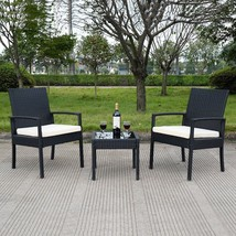 3Pcs Rattan Furniture Set Table And Two Chairs Garden Patio Outdoor Cush... - $125.75