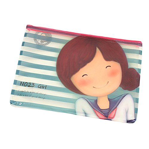 Primary image for Cute Document File Stationery PVC Zipper Bag Holder Pocket Pouch - Blue Stripe