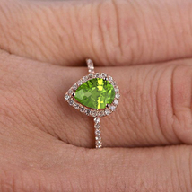 3.15 ct Pear Cut Peridot & Dai 14k Rose Gp 925 Sterling Silver Wedding H... - $103.99