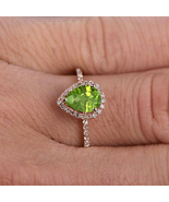 3.15 ct Pear Cut Peridot & Dai 14k Rose Gp 925 Sterling Silver Wedding H... - $103.99