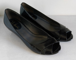 Cole Haan Women'sNike Air Cross Strap Peep Toe Wedge Patent Black Leathe... - $25.50