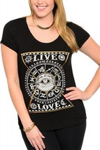 SIZE 1X Womens Knit Top LIBIAN Black Graphic Front LIVE LOVE Ruched Shor... - $59.99